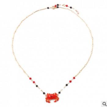 欧美跨境饰品 时尚新款珐琅螃蟹吊坠短款项链锁骨链配饰批发 女