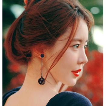 韩国气质耳环长款耳坠个性黑色镂空鸟巢耳钉日韩版时尚百搭耳饰