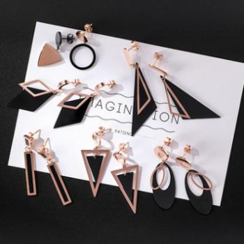 日韩简约长款流苏钛钢耳环 气质三角圆形几何耳饰 钛钢合集系列2