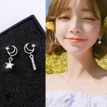 925银针气质迷你学生锆石耳钉女个性小巧简约不对称星星月亮耳环