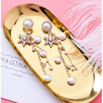 925银针 韩版复古宫廷风水晶雪花耳环个性闪钻珍珠流苏链条耳饰