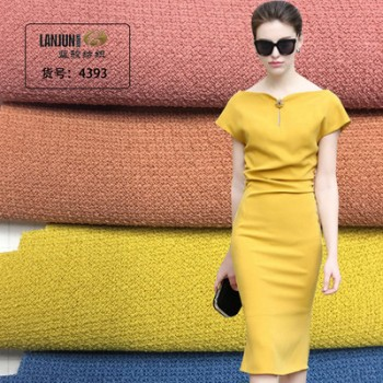 2018新款冰丝格时尚面料梭织四面弹力连衣裙厂家直销聚酯纤维