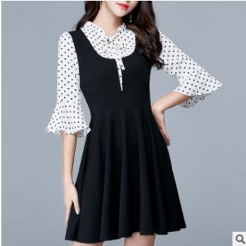 假两件针织连衣裙2018秋季新款女装韩版大码女装波点裙子一件代发