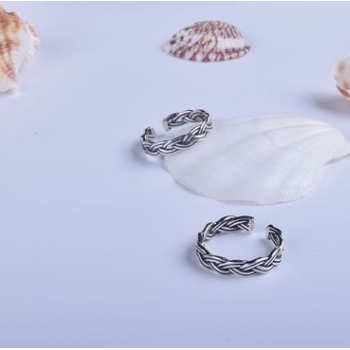 韩版S925纯银情侣款戒指麻花绳开口女指环时尚个性银饰品首饰批发
