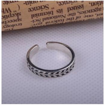韩国新款简约叶子开口指女式食指环戒指S925纯银复古风手饰品批发