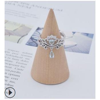 韩版爆款纯银925银镶钻戒指时尚创意二合一皇冠开口指环银手饰品