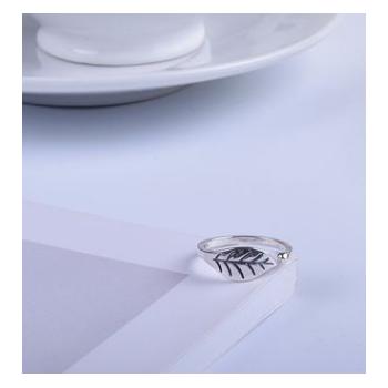 S925纯银戒指女式树叶开口小清新甜美叶子复古指环尾戒银饰品批发