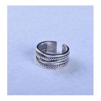韩版风手饰品S925纯银戒指多层缠绕麻花复古风食指开口戒情侣指环