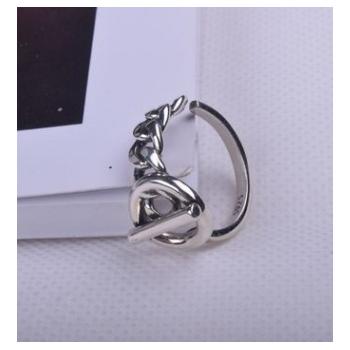 日韩风新款时尚个性s925纯银戒指女式开口泰银做旧几何不规则指环