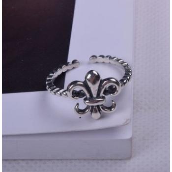 新款韩版925纯银戒指女式手饰品复古克罗花泰银饰开口戒女生指环