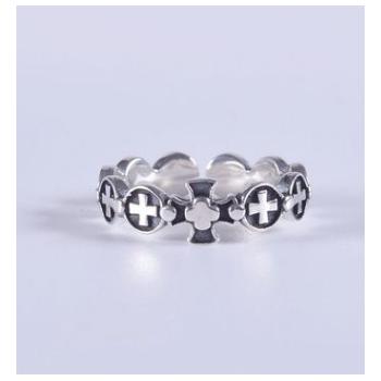 韩版时尚复古S925纯银戒指个性十字架开口女式泰银手饰品食指环
