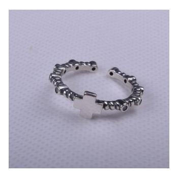 韩国风时尚个性复古风s925纯银戒指女式开口十字架指环手饰品批发