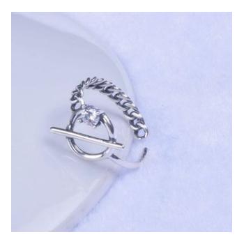韩版时尚新款复古s925纯银戒指女式百搭开口镶钻指环手饰品批发