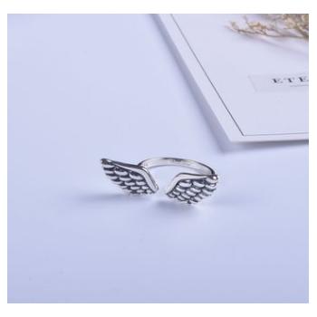 韩版新款个性复古做旧 S925纯银戒指女式食指开口泰银翅膀首饰品