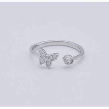 韩版新款S925纯银戒指时尚个性女式简约微镶锆石小蝴蝶开口戒指环