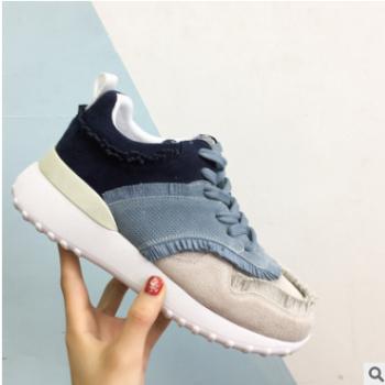 2018春新款女鞋 一件代发磨砂牛皮加绒布 厂家直销跑步时尚休闲鞋