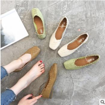 夏季新款休闲百搭一脚蹬时尚单鞋 一件代发软皮女鞋 浅口单鞋批发