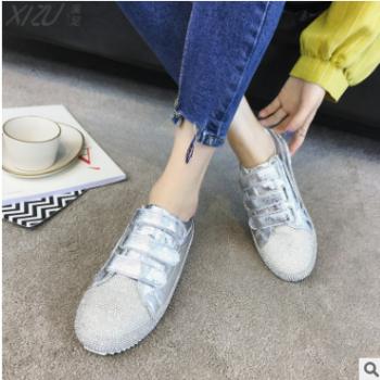 2018夏季新款女鞋韩版纯色平跟圆头水钻板鞋凉皮低帮透气休闲鞋