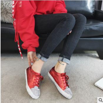 2018春季新款真皮软底休闲鞋时尚百搭系带低帮鞋女式女鞋单鞋