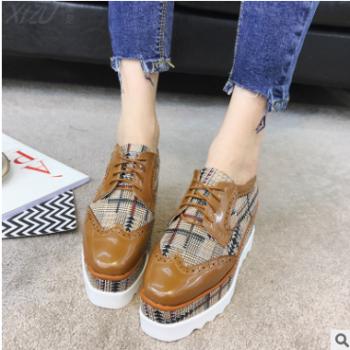 2018春季新款时尚女鞋 一件代发系漆皮格子布休闲女士单鞋 百搭淑