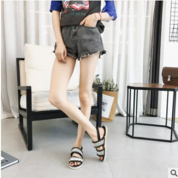 2018夏新款女士百搭水钻拖鞋 女时尚外穿平底休闲帆布拖鞋一件代