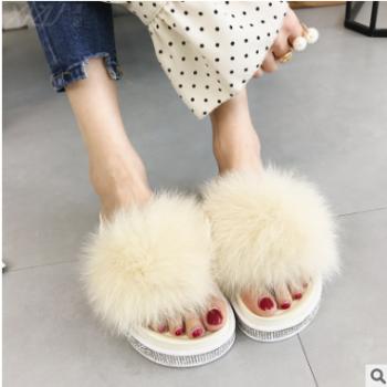 2018夏新款女士厚底凉拖鞋 女时尚外穿平底兔子毛毛一字拖鞋厂家