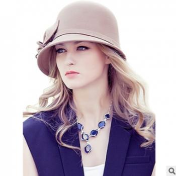 秋冬季帽子女士英伦复古渔夫帽羊毛呢帽子新款冬季牵牛花帽子批发