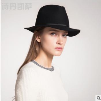 帽子女士秋冬季新品羊毛帽中性复古爵士帽潮流毛呢帽礼帽批发
