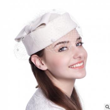 新娘帽子女士秋冬季保暖羊毛呢帽 优雅毡帽秋冬宴会小礼帽