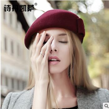 秋冬季女画家帽子保暖羊毛呢礼帽子女士空姐礼帽欧美贝雷帽