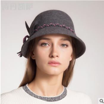 帽子女秋冬季新品个性小檐渔夫帽女英伦圆顶时尚礼帽羊毛呢帽