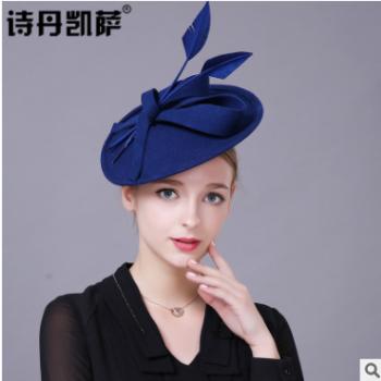 秋冬季帽子女士英伦优质羊毛呢复古头饰优雅女人小礼帽子