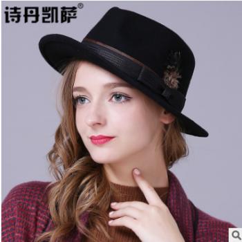 工厂直销秋冬季复古英伦爵士帽子男女士时尚礼帽子优质羊毛呢帽
