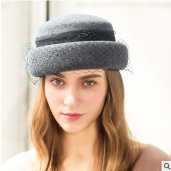 诗丹凯萨 帽子18秋冬新款羊毛帽女英伦复古小礼帽 宴会网纱贝蕾帽