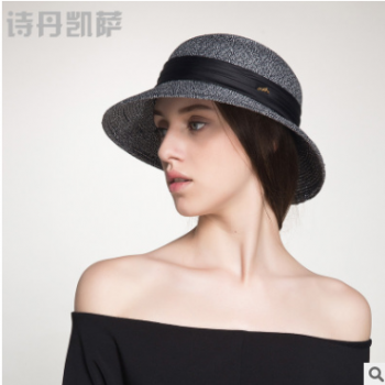 夏季女士精致优雅沙滩帽子女士防晒休闲草帽女 遮阳帽夏天可折叠