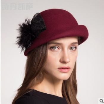 帽子女士秋冬花朵保暖帽英伦时尚盆帽毛呢帽子新款渔夫毛呢帽批发