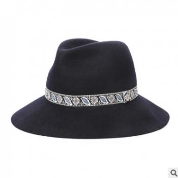 18秋冬季新款 英伦帽子女 英伦羊毛呢帽子小礼帽女爵士帽韩版批发
