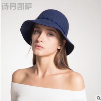 2017新品帽子女士秋冬季毛呢帽圆顶羊毛帽时尚女士礼帽子纯色批发