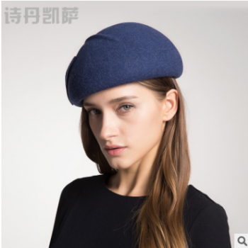 贝雷帽女欧美复古羊毛呢帽秋冬季空姐礼帽子女士 优质羊毛批发