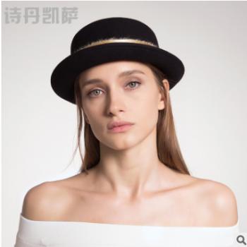 新品帽子女秋冬羊毛呢帽简约圆顶帽子保暖毛呢帽子女士批发