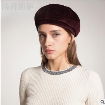 帽子女秋冬贝雷帽新品毛呢帽韩版时尚子潮流百搭帽子女