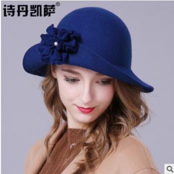 秋冬帽子女士英伦羊毛呢卷边毛呢帽花朵圆顶帽小礼帽女