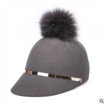 18秋冬新款 帽子女定型毡帽韩版毛球新潮显瘦鸭舌帽百搭马术礼帽