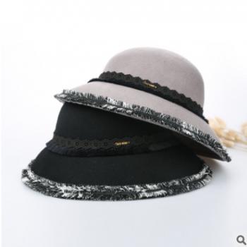 2018秋冬新款 复古赫本帽 羊毛毡帽宴会礼帽女保暖英伦毛边帽批发