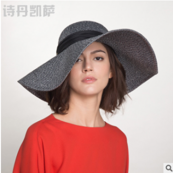 防晒可折叠大檐沙滩帽 帽子女士夏天出游海边遮阳草帽子女间色