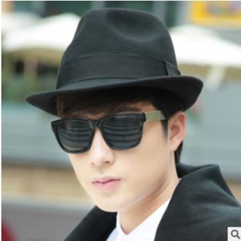 时尚爵士帽秋冬季羊毛帽通用型帽子男士毡帽英伦牛仔帽