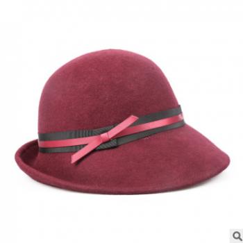 2018秋冬新款 复古 羊毛毡帽 宴会礼帽女保暖英伦帽一件代发