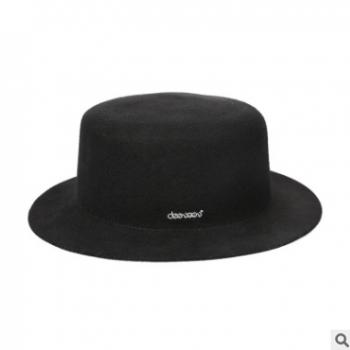 18秋冬新款羊毛呢帽子女士 英伦平顶帽潮流帽百搭小礼帽子 女批发