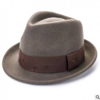 秋冬天新款英伦礼帽潮流男女士帽子羊毛呢帽经典爵士帽子一件代发