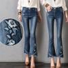实拍2018秋新款牛仔裤女民族风弹力修身显瘦刺绣水洗九分喇叭裤